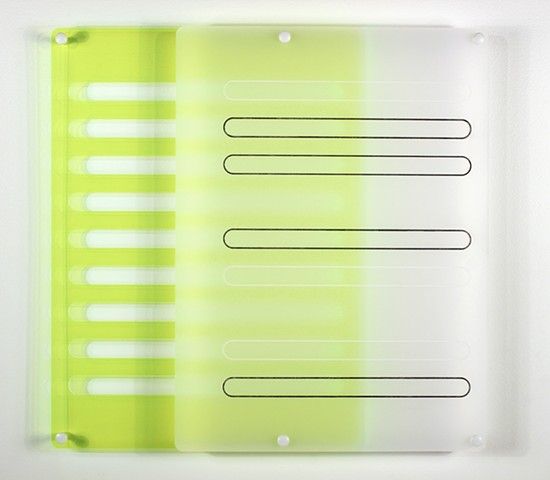 Geometric abstraction in laser-cut green and frosted-clear acrylic based on the number e by Yvette Kaiser Smith
