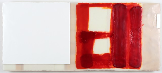 Minimal geometric red white encaustic on panel by Yvette Kaiser Smith