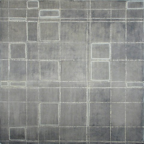 grid mixed media on panel by Yvette Kaiser Smith