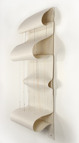 fiber art, white felt sculpture by Yvette Kaiser Smith