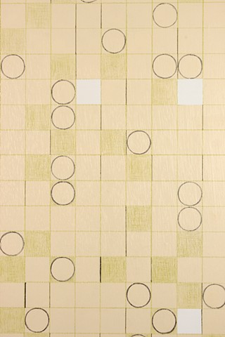 geometry and grid drawing on panel by Yvette Kaiser Smith