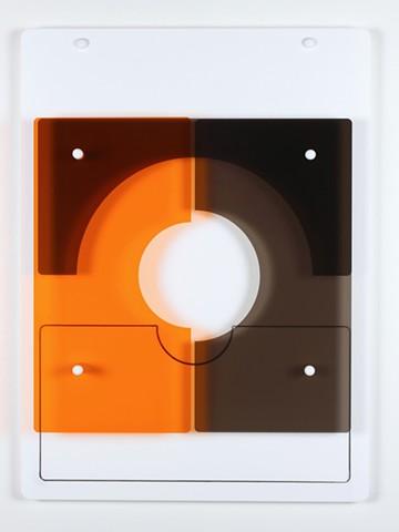 Geometric abstraction in laser-cut acrylic, white, brown, and orange based on pi by Yvette Kaiser Smith