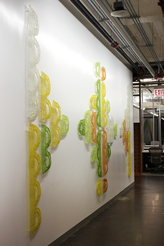 FB AIR Program Project, multi colored crocheted fiberglass wall sculpture by Yvette Kaiser Smith