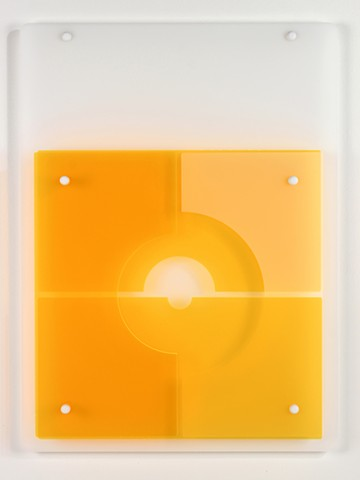 Yellow and white geometric abstraction based on number sequence in laser-cut acrylic based on pi by Yvette Kaiser Smith