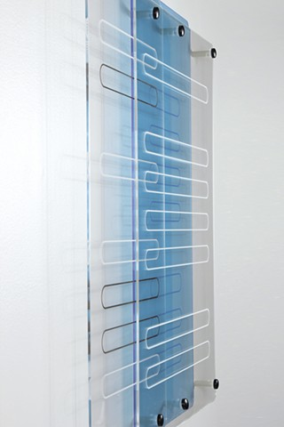 Geometric abstraction in laser-cut fluorescent blue and clear acrylic based on sequence from e by Yvette Kaiser Smith