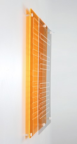 Geometric abstraction in laser-cut fluorescent orange and clear acrylic based on sequence from e by Yvette Kaiser Smith