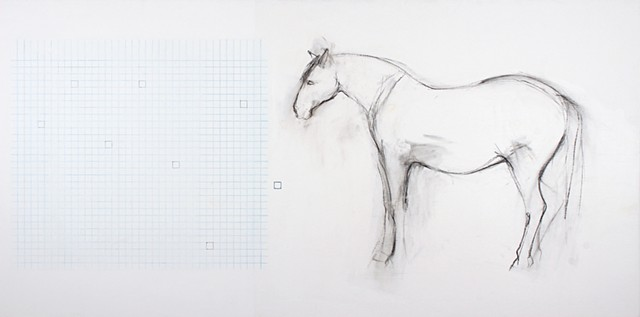 Drawing of horse and grid on panel by Yvette Kaiser Smith.