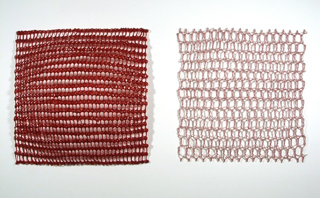Crocheted fiberglass and polyester resin wall sculpture of grids by Yvette Kaiser Smith
