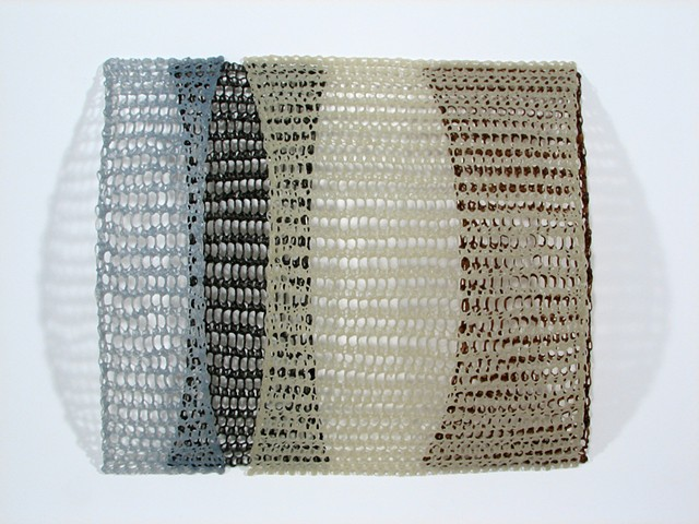 Minimal geometric crocheted fiberglass and polyester resin wall sculpture by Yvette Kaiser Smith