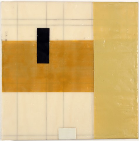 geometric encaustic on panel by Yvette Kaiser Smith