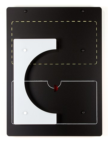 Black, white, and red laser cut acrylic geometric abstraction based on pi by Yvette Kaiser Smith