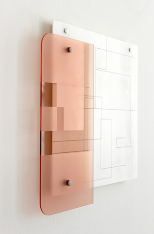 Geometric abstraction, line and lacquer on acrylic sheet with wood, Gallery Heerz Tooya, Veliko Turnovo, Bulgaria