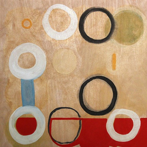 Yvette Kaiser Smith circle grid oil painting on panel from pi sequence.