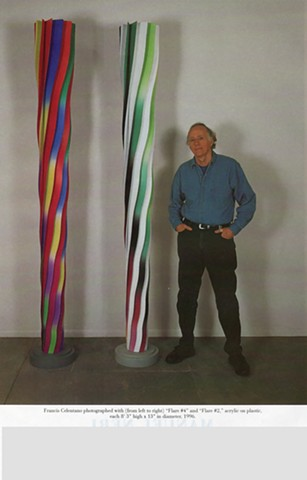 "(L to R) Flare #4 and Flare #2, each 8' 3"" high x 13"" in diameter, 1996."