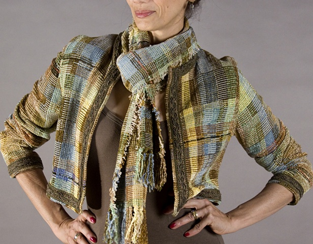Handwoven jacket of rayon chenille and cotton yarns