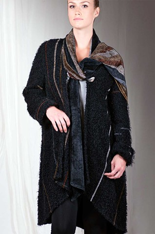 """Piedra"" Ebony Cloud Shawl Coat"