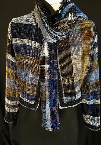 Handwoven bolero jacket and scarf of rayon chenille, cotton and bamboo- can be sold separately