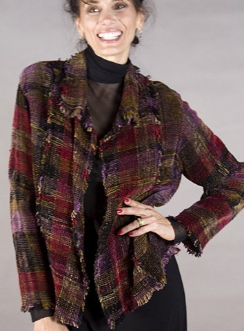 Handwoven jacket of rayon chenille and cotton in blockweave