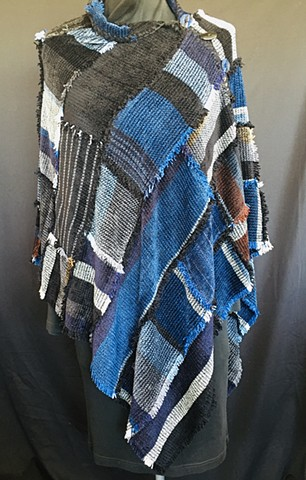 The Blues Patchwork Poncho