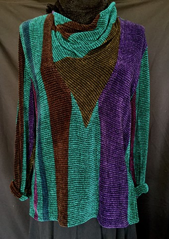 Handwoven cowl pullover of rayon chenille, cotton and bamboo yarns.