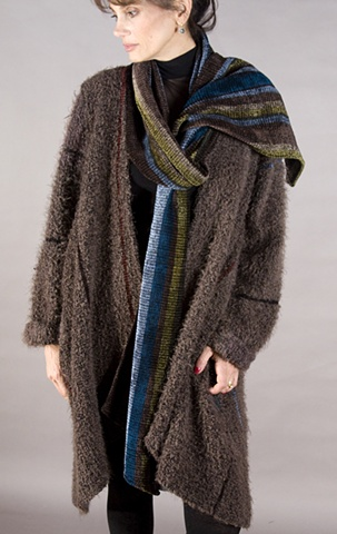 "Handwoven coat of ""cloud"" microfiber and rayon chenille"