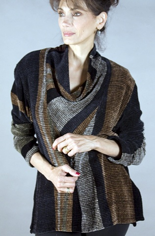 Handwoven Cowl pullover with rayon chenille and cotton