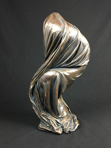 bronze sculpture fabric contemporary art foundry art for sale biomorphic biomorphism fluidity fluid dance flow