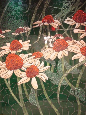 Stained glass mosaic Stained glass mosaic flowers orchids yellow commission beautiful nature natural St. John's Springfield Missouri coneflowers echinacea