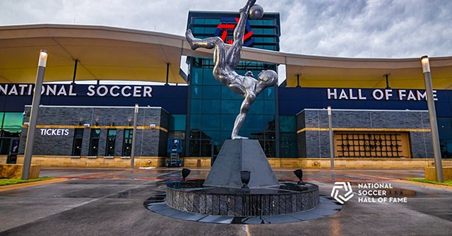 This sculpture was commissioned by the National Soccer Hall of Fame