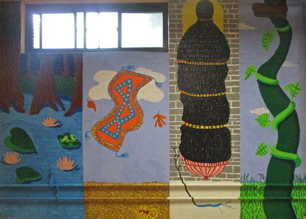 Chicago Mural, Saint Benedict the African, Fairy Tale Mural, Grade school mural, Catholic school mural,Princess and the Frog, Aladdin, Repunzel, Jack and the Bean Stalk