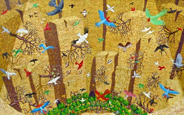 Painting, Narrative Art, Underworld, Birds, Cave