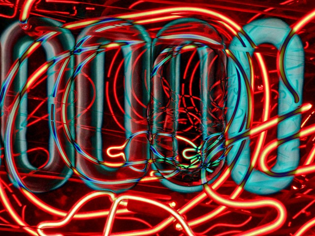 Sum Zero, Some Zero, Zero,Neon, Neon Light, Neon Art, Abstract art, Hard Edge Art, Digital photography, color photography, Computer art, Computer art based off digital altered photographs