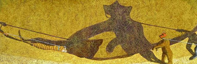 Painting, Narrative Art, Cyclades, Bear, Tiger, Cave