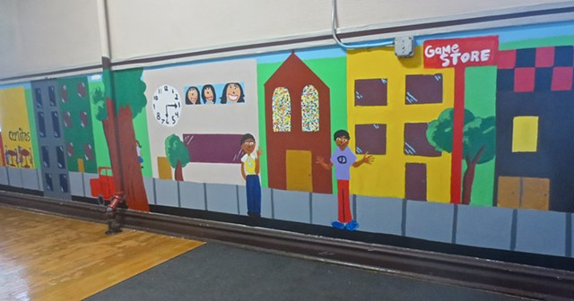 Student planned and created mural about communities at Maternity Blessed Virgin Mary elementary school, Chicago 2013