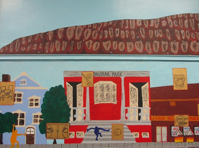 Mural, Changing Worlds, Elementary School art project, Chicago Public Schools, Pilsen, Pilsen Murals