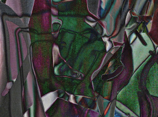 Cubist Portrait, Abstract Art, Hard Edge Art, Colors Photographs, Digital Photograph, Computer art based off of digital altered photographs