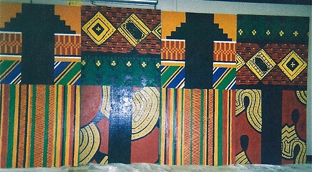 3rd grade Kente cloth designed mural on wooden panels