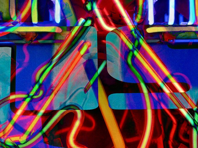 Neon, Neon Bar Lights, Bar Lights, Abstract art, Hard Edge Art, Digital photography, color photography, Computer art, Computer art based off digital altered photographs