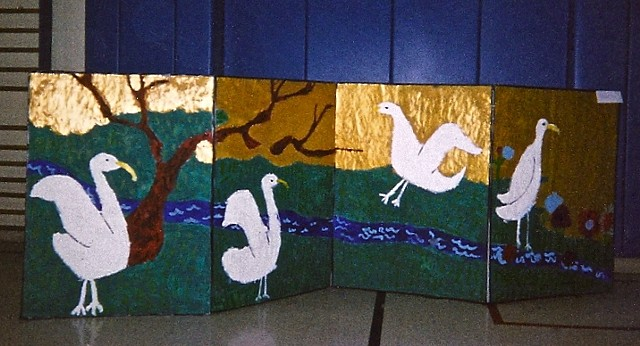 Chicago 2nd grader designed and created Japanese screens, left screen,  4 birds, tree, stream, gold sky and land