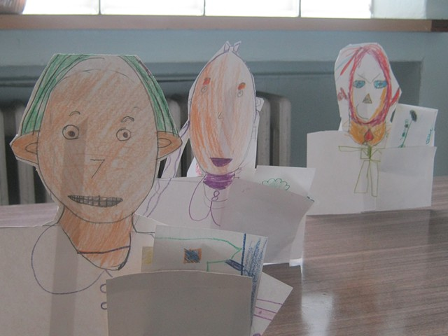 Chicago Kindergarteners paper self-portrait sculpture. Kindergarteners in their community art project.