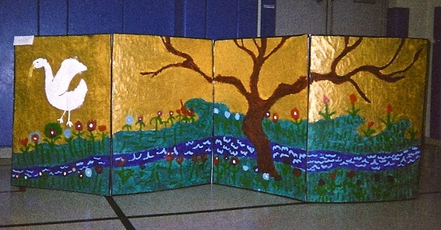Chicago 2nd graders designed and created Japanese screens, right screen, bird, tree, stream, gold sky and land