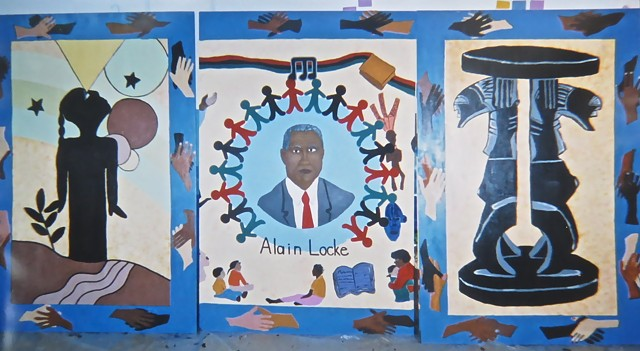 Alain Locke Charter School Chicago Mural, designed and created by teachers