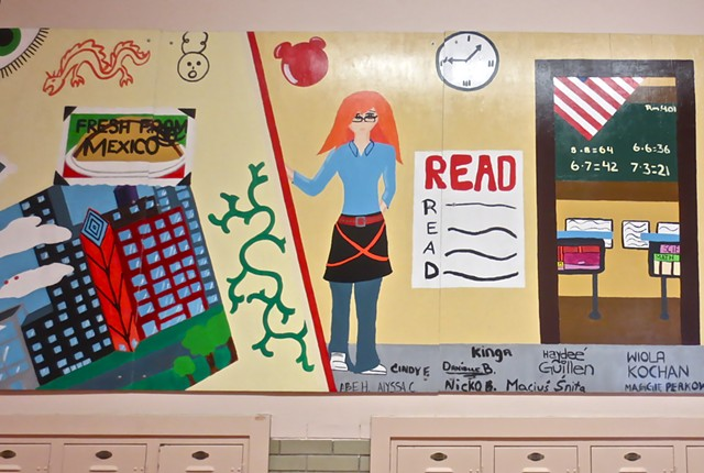 After school mural designed and created by 8th graders. Smyser Elementary School Chicago