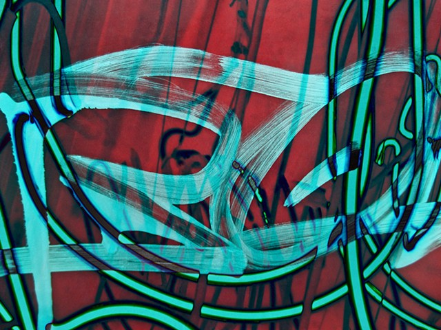 Spider Web, Neon, Neon Light, Graffiti, Graffiti art, Hard Edge art, Abstract art, Calligraphy, Computer art, Digital art, Computer art based off of digital altered photographs.