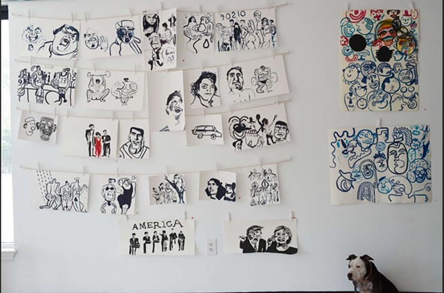 ink drawings, portraits, petunia