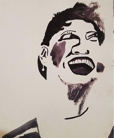 ethel merman, ink drawing, broadway
