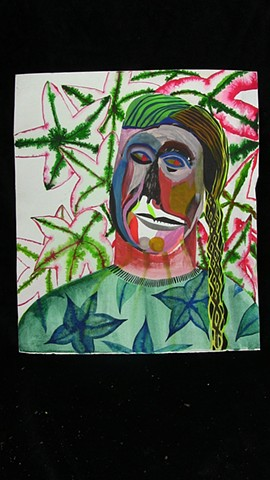 leaves, watercolor, firgure, braids