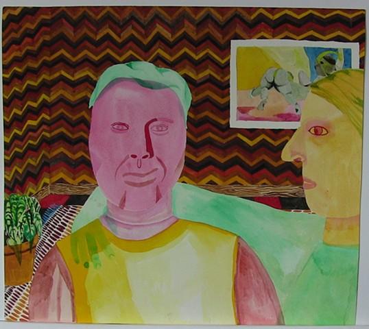 gay face, wood paneling, watercolor,