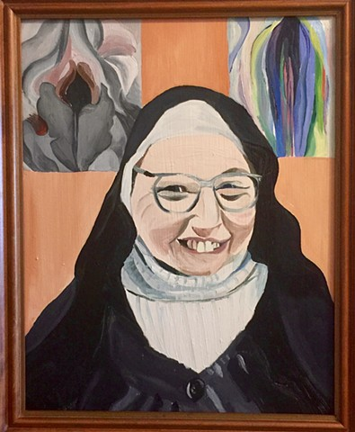 Sister Wendy with Georgia O'Keefes