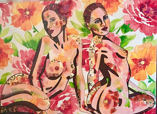 Two women with large floral motif